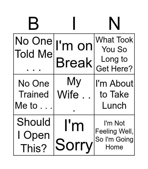 Kevin Bingo Card