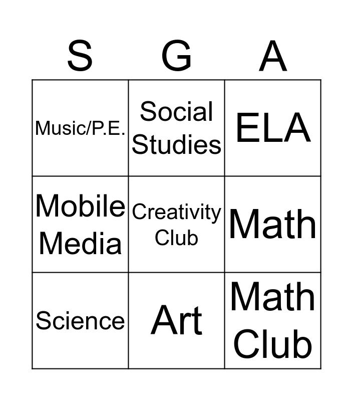 TSGA Showcase Night Bingo Card