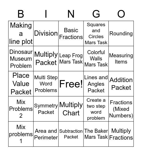 Review Bingo (Ice Cream Party) Bingo Card