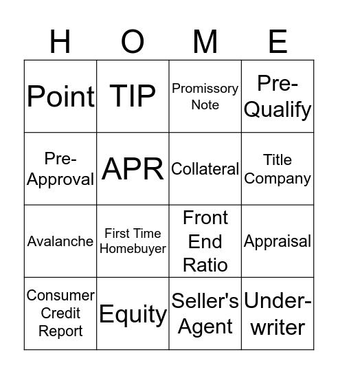 Homebuyer Education Bingo Card