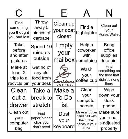 Spring Cleaning Bingo Card
