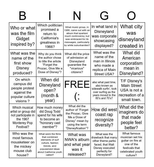 AMST 395 Week #12 Reading Bingo Card