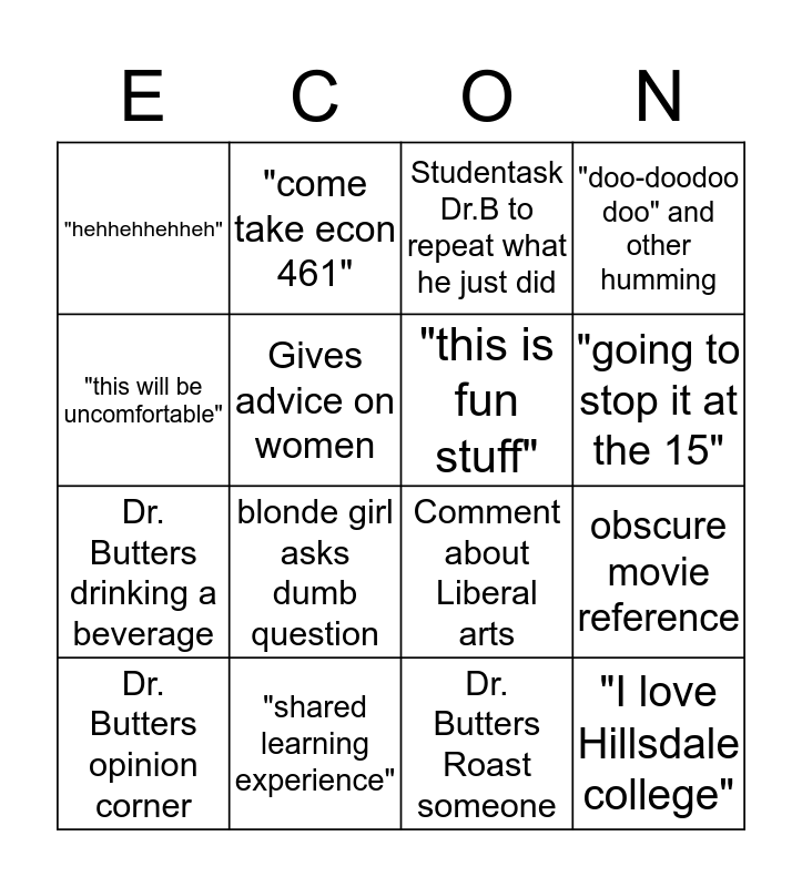 Dr. Butters Economics Bingo Card