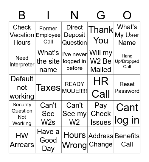 Caller Says What? (BLACKOUT) Bingo Card