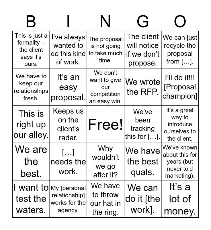 Proposal GNG Bingo! Bingo Card