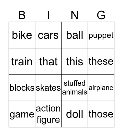 Fun and Games Bingo Card