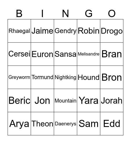 G.o.T. Final Death Watch - Nadja - Bingo Card