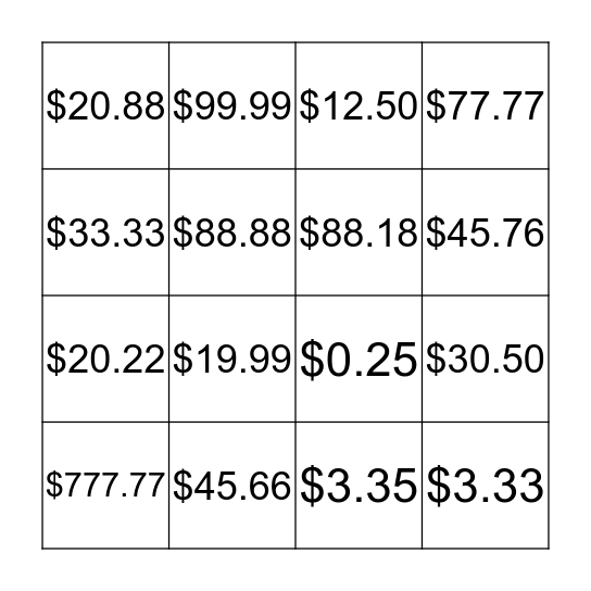 How much is it? Bingo Card