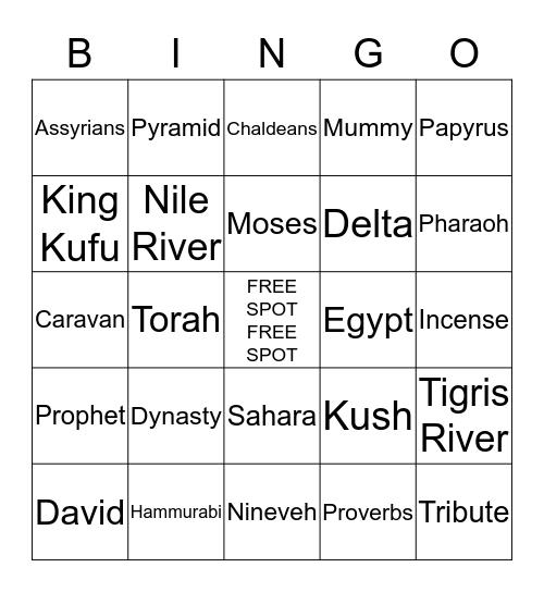 Unit 1 Early Civilizations Bingo Card