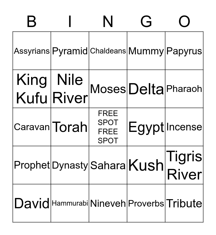 Unit 1 Early Civilizations Bingo Card