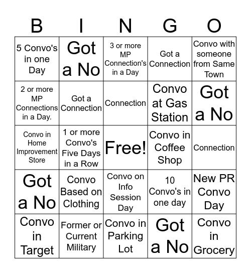 Connection Bingo Card