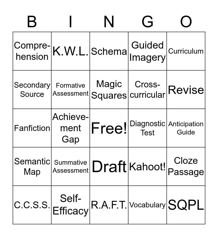Reading in the Content Area Bingo Card