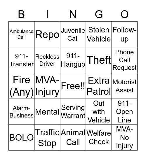Telecommunicator Week 2019 Bingo Card