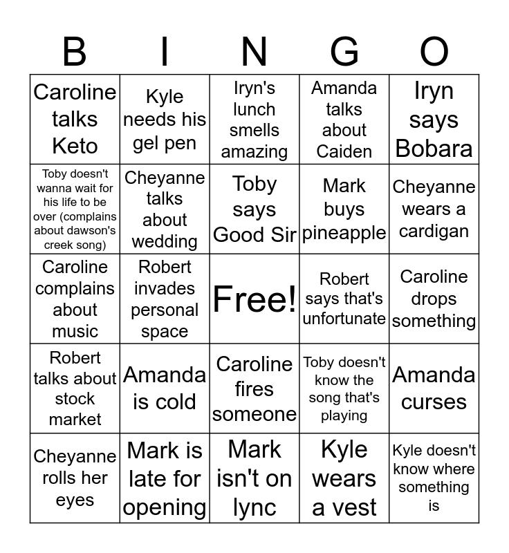 Malayna's  Team Monty Bingo Card  Bingo Card