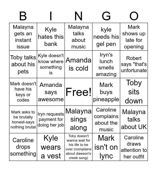 Iryn's Team Monty Bingo Card  Bingo Card