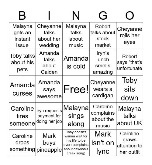 Kyle's Team Monty Bingo Card  Bingo Card