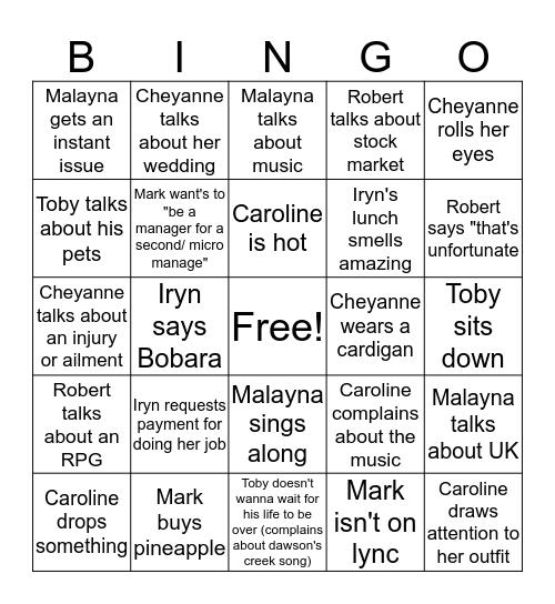 Amanda's Team Monty Bingo Card  Bingo Card