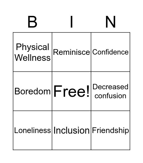 Importance of Leisure Activities Bingo Card