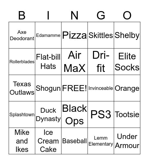 Devin's Favorites Bingo Card