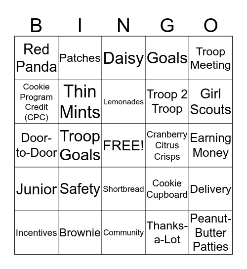 Girl Scout Cookie Bingo Card