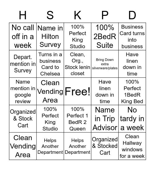 Housekeeping/Sales  Bingo Card