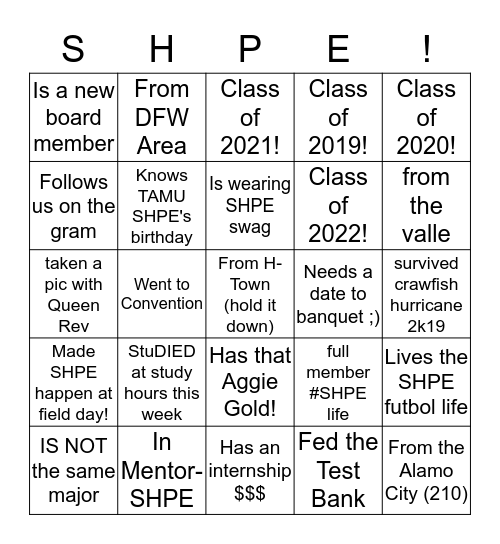 Find A Member Who Bingo Card