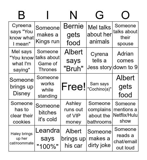Sean Bingo Card