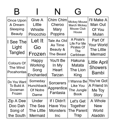 Disney Bingo Card