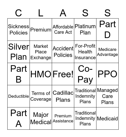 Chapter 9: health Insurance  Bingo Card