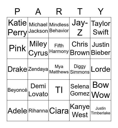 Mya's Hollywood Bingo Card