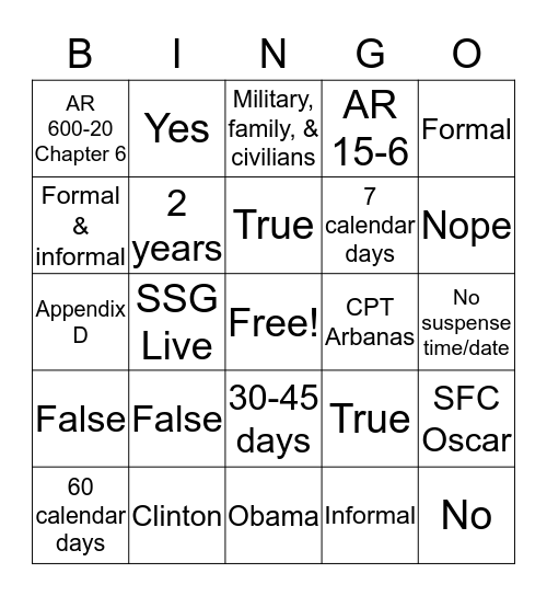 E.O. B.I.N.G.O. Bingo Card