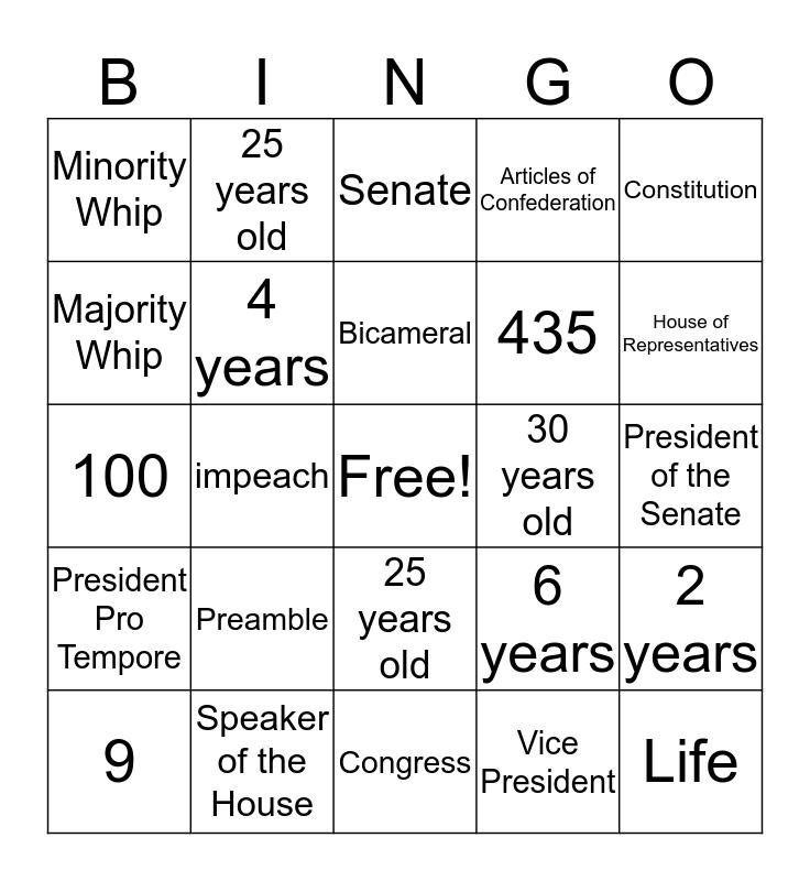 Government Bingo Card
