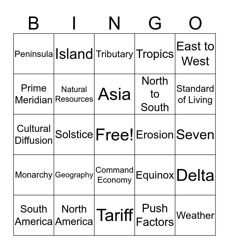 Grandparents Day Geography Bingo Card