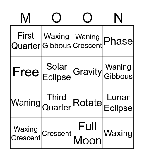 Moon Phases  Bingo Card