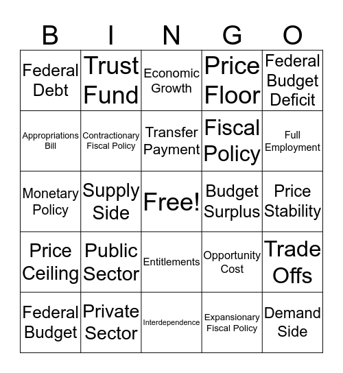Fiscal Policy Bingo Card