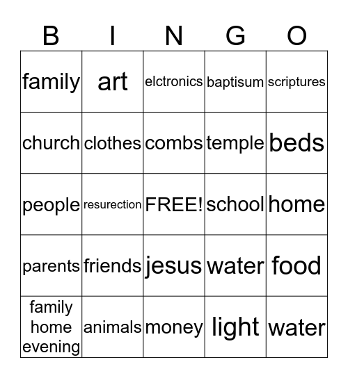 Count Your Blessings Bingo Card