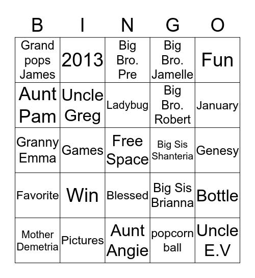Alaina Birthday Bingo Card