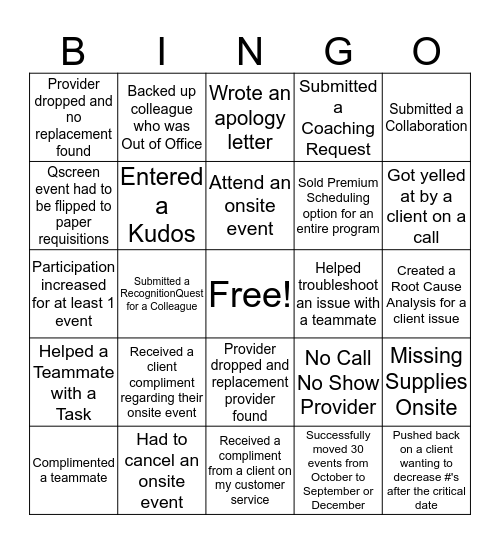 2019 Busy Season Bingo Card