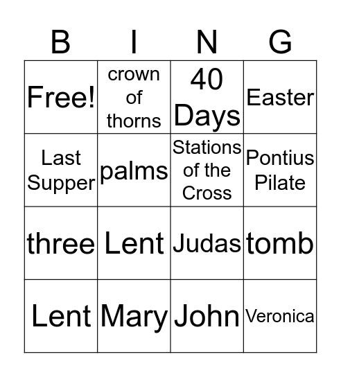 Lent  Bingo Card
