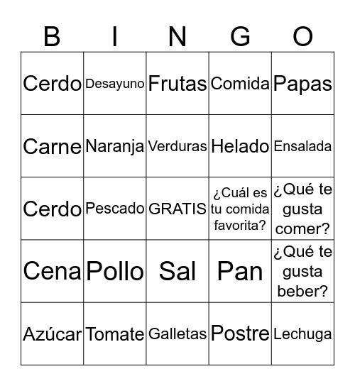 Food in Spanish Bingo Card