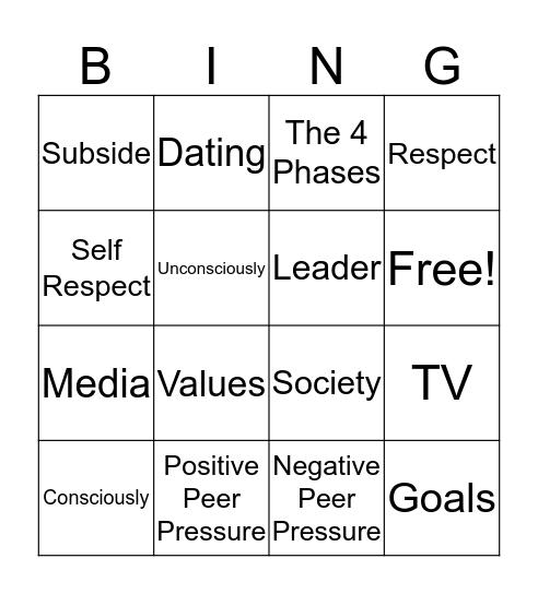 Media Shaping Attitudes and Peer Pressure Bingo Card