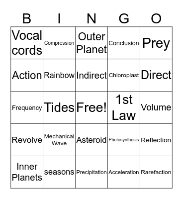 Science!! Bingo Card
