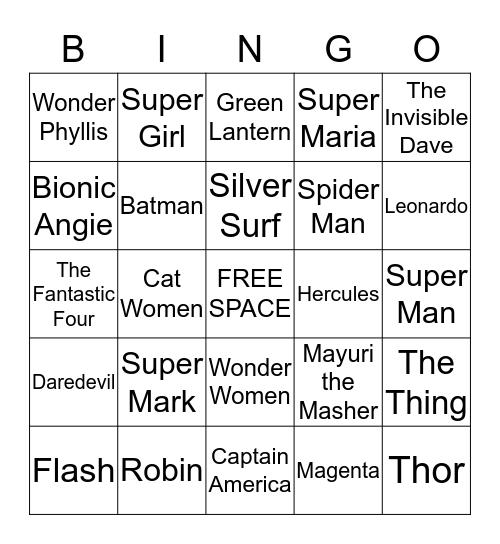 DE SUPER HERO Bingo Card