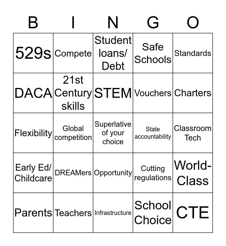EWA Buzzword Bingo -SOTU 2018 Bingo Card