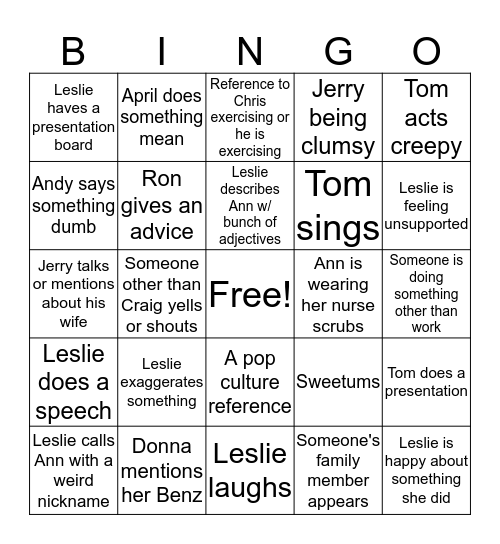Parks and Recreation Bingo Card