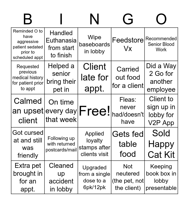 Administrative Week Bingo Card