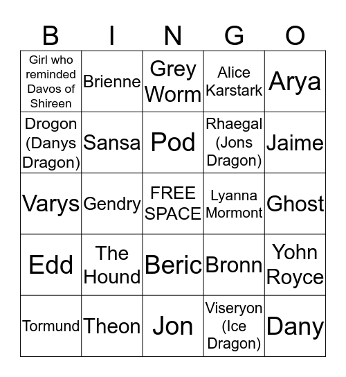 BATTLE OF WINTERFELL DEATH BOARD Bingo Card