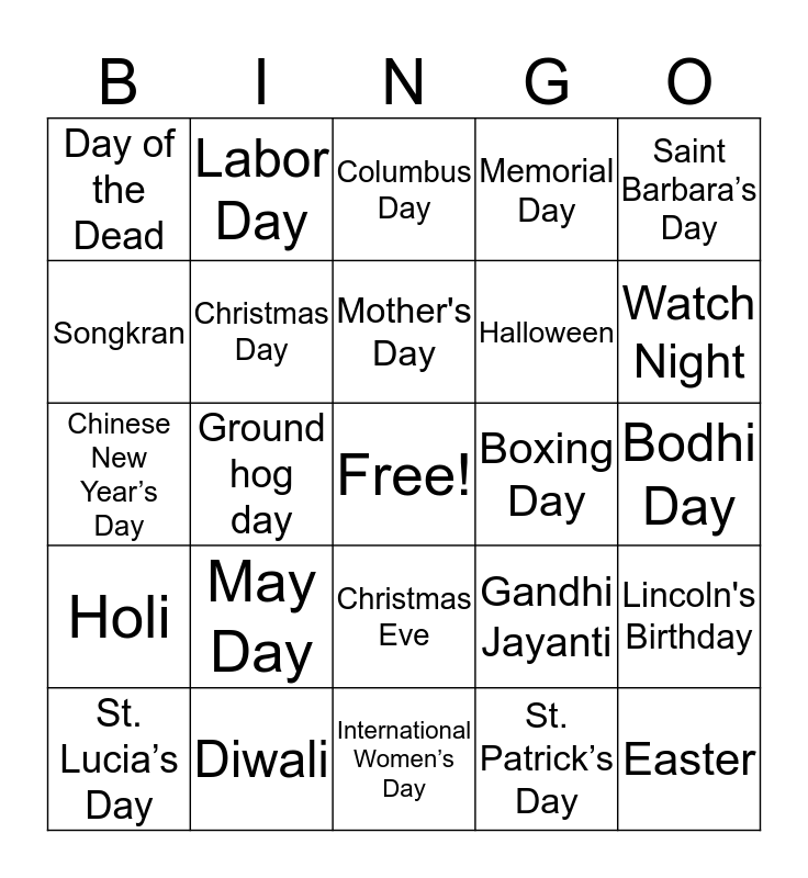 Holidays Bingo Card