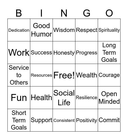Motivation Bingo Card