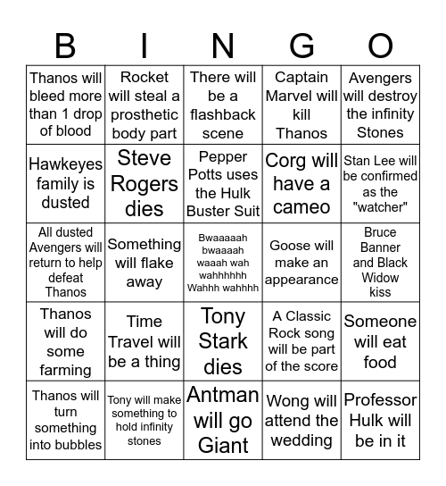 End Game Predictions Bingo Card
